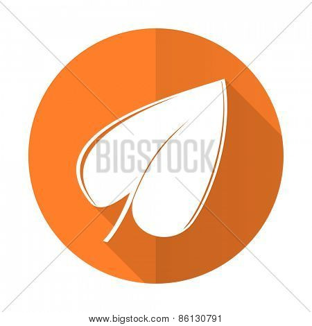 nature orange flat icon leaf symbol