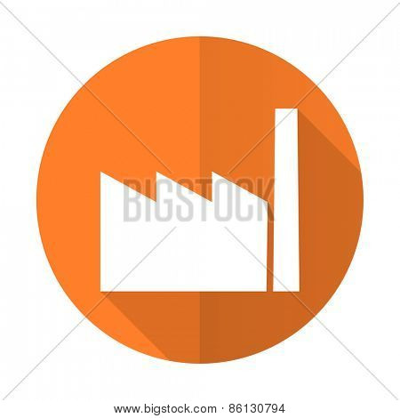 factory orange flat icon industry sign manufacture symbol