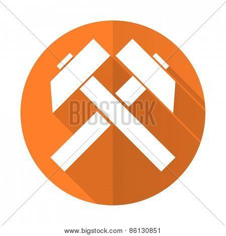 mining orange flat icon