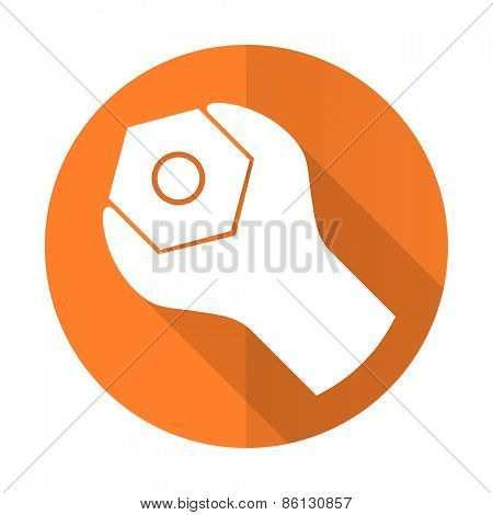 tools orange flat icon service sign