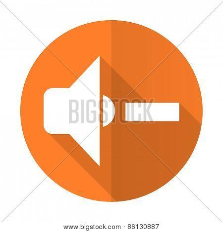 speaker volume orange flat icon music sign