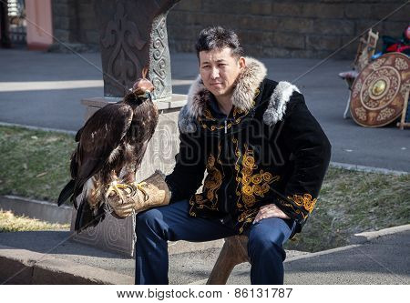 Kazakh Man With Falcon