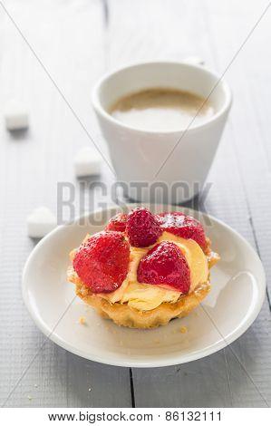 Sweet Dessert Cake Strawberries Coffee Cup Milk