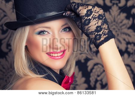 Beautiful Cabaret Woman Posing Against Retro Wallpapers
