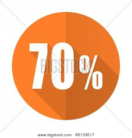 70 percent orange flat icon sale sign