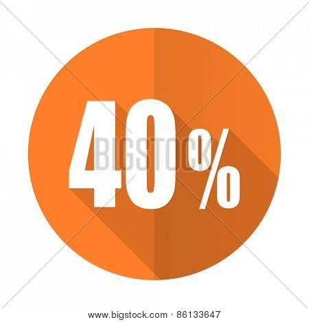 40 percent orange flat icon sale sign