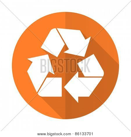 recycle orange flat icon recycling sign
