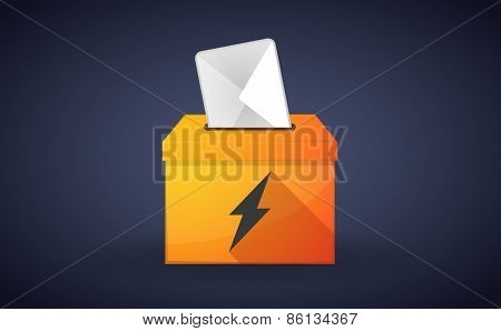 Ballot Box With A Vote And A Lightning