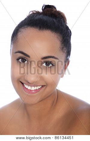 Bare Asian Indian Young Woman Looking At Camera