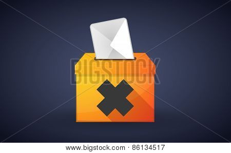 Ballot Box With A Vote And An Irritating Substance Sign