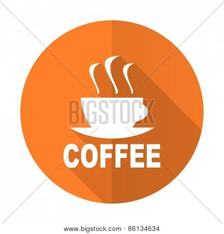 espresso orange flat icon hot cup of caffee sign