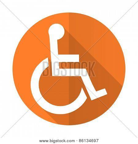 wheelchair orange flat icon
