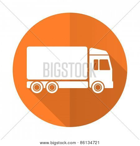 delivery orange flat icon truck sign