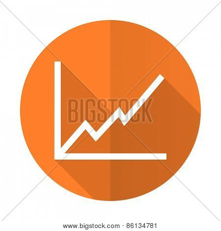 chart orange flat icon stock sign