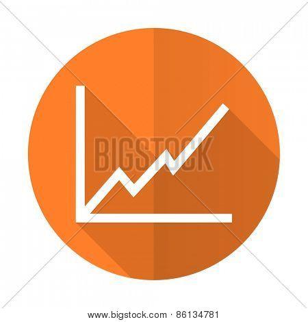 chart orange flat icon stock sign