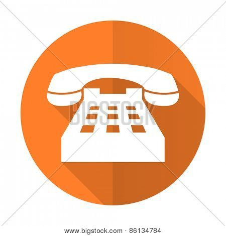 phone orange flat icon telephone sign