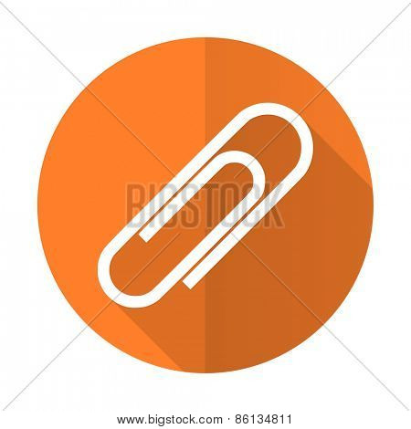 paperclip orange flat icon