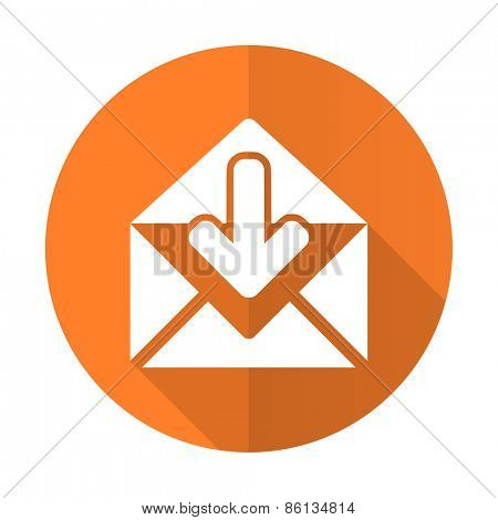 email orange flat icon post message sign