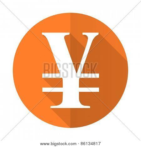 yen orange flat icon