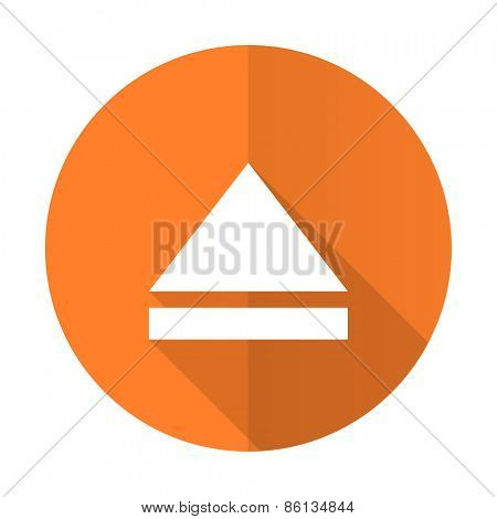 eject orange flat icon open sign
