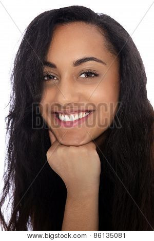Cheerful Young Indian Woman With Fist On Her Chin