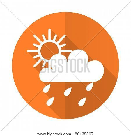 rain orange flat icon waether forecast sign