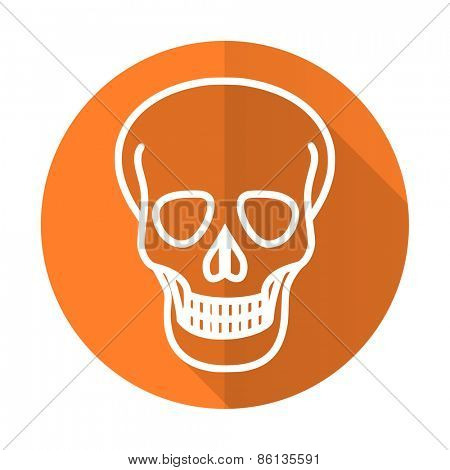 skull orange flat icon death sign