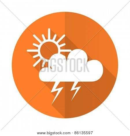 storm orange flat icon waether forecast sign