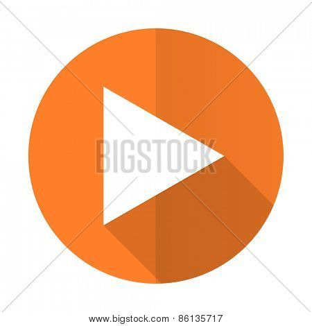 play orange flat icon