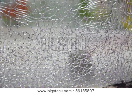 Crack In Glass. Broken Glass Close Up