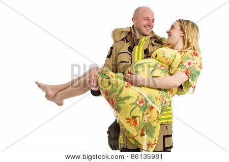Fireman Rescue Pregnant Woman