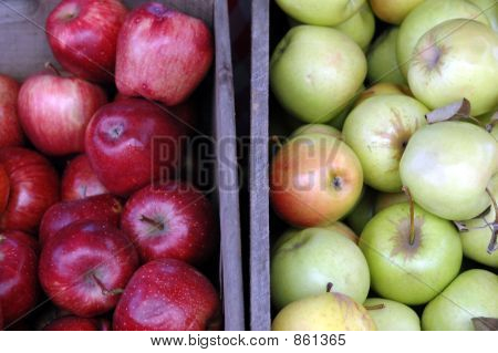 Crates of red and green apples