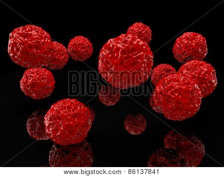 Abstract balls in red color