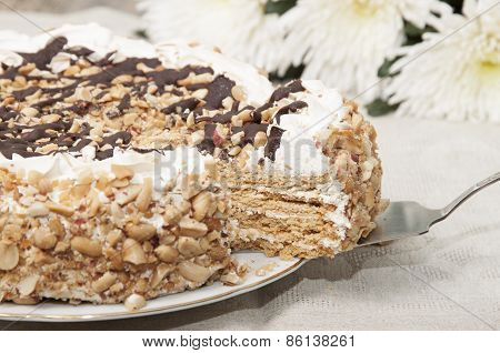 Cake With Honey Shortcakes, Curd Cream With Nuts And Chocolate.