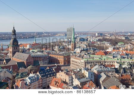 Aerial view of old center of Riga