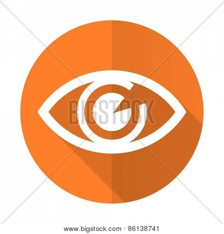 eye orange flat icon view sign