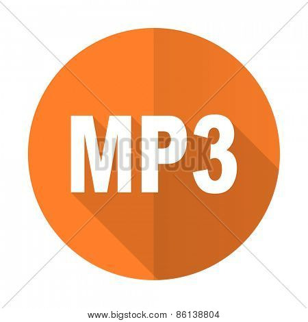 mp3 orange flat icon