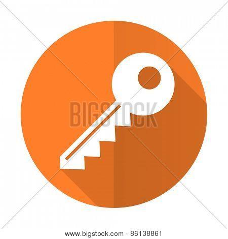 key orange flat icon