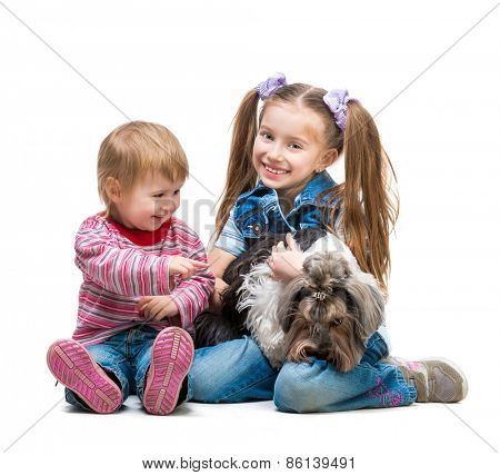 smiling littlesisters is with her dog Yorkshire Terrier