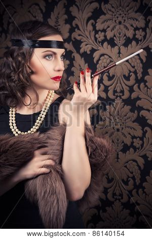 Beautiful Retro Woman Holding Mouthpiece Against Vintage Wallpapers
