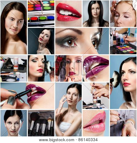photo collage on the of make-up  theme