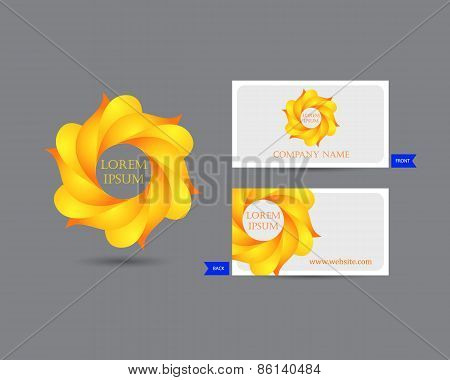 Business emblem icon of golden leaves