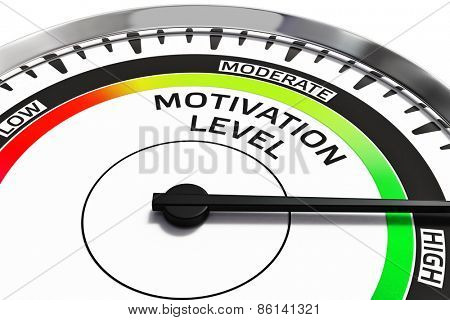 Motivation level concept - gauge gage dial close up with arrow measuring high motivation