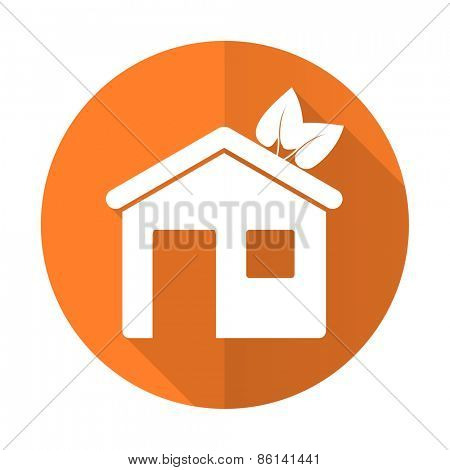 house orange flat icon ecological home symbol