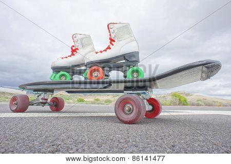 Old Vintage White Skate Boot