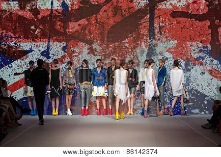 ZAGREB, CROATIA - MARCH 21, 2015: Fashion models wearing clothes designed by Marina Design on the 'Fashion.hr' fashion show