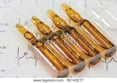 Ampoule, Phials On Cardiogram Background