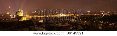 Panoramic View Of Prague At Night.