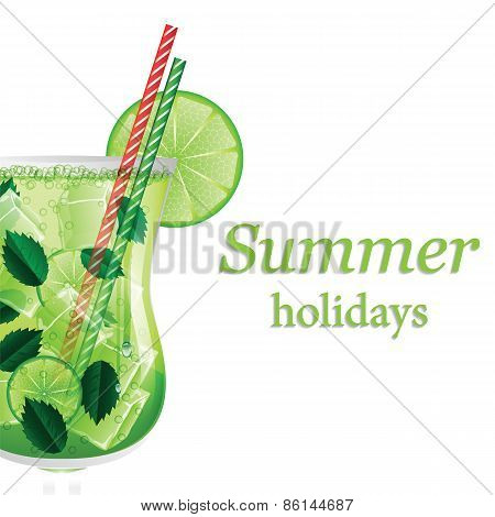 Summer Mojito Cocktail With Ice, Mint And Lime Isolated On White Background