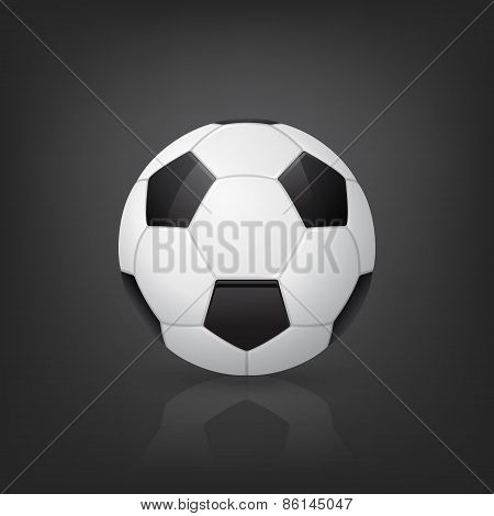 Traditional Soccer Ball On Black Background. Vector Illustration.